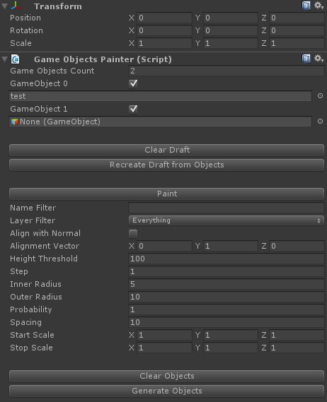 Game Objects Painter interface.